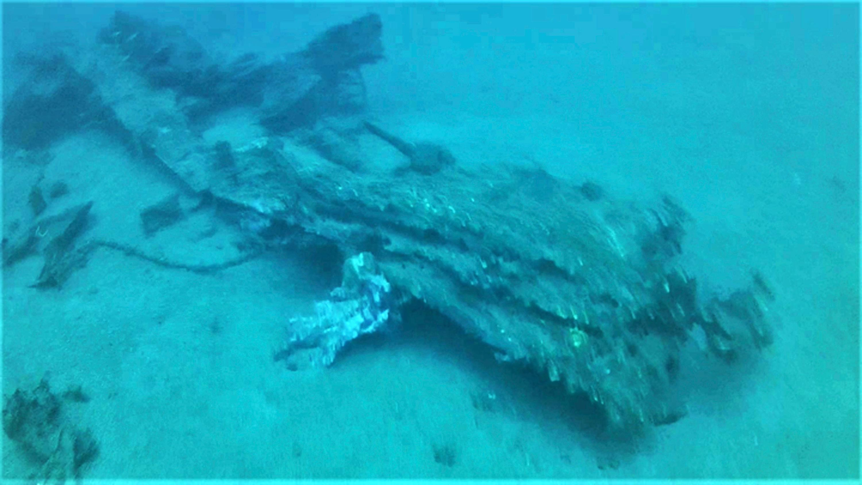 This October 2017 photo from a remote-controlled underwater camera provided by Project Recover shows the starboard landing gear and a wing fragment of a B-24 bomber that crashed in Hansa Bay in what is now Papua New Guinea during World War II. The volunteer group Project Recover announced earlier this week the plane carrying an 2nd lieutenant from Livermore, Calif., and 10 others was located beneath 213 feet (64 meters) of water. Relatives of 2nd Lt. Tom Kelly got word after almost 74 years. (Project Recover via AP)