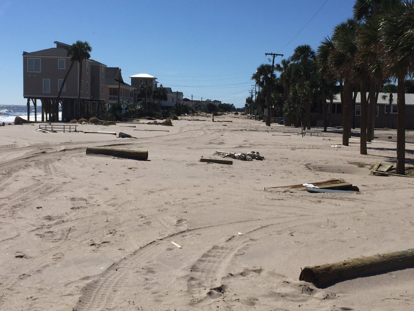 Palmetto Blvd on Edisto Beach after Hurricane Matthew (Bill Burr/WCIV)