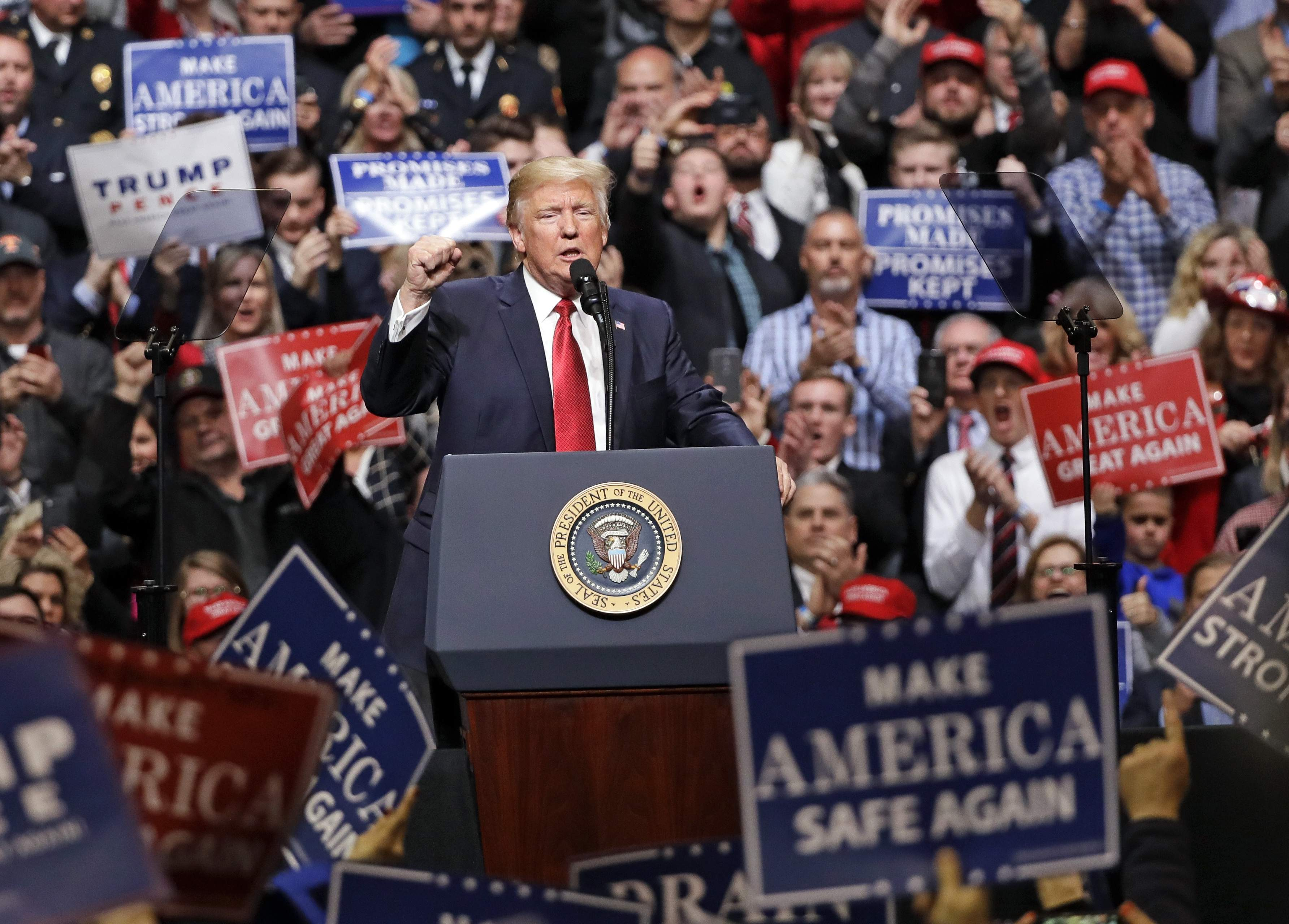 DAY 55 - In this March 15, 2017, file photo, President Donald Trump speaks at a rally in Nashville, Tenn. (AP Photo/Mark Humphrey, File)