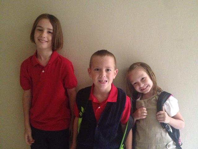 FOX 25 Facebook fan Kristan Kirkpatrick posted this picture of her three children as they start school in a new district!