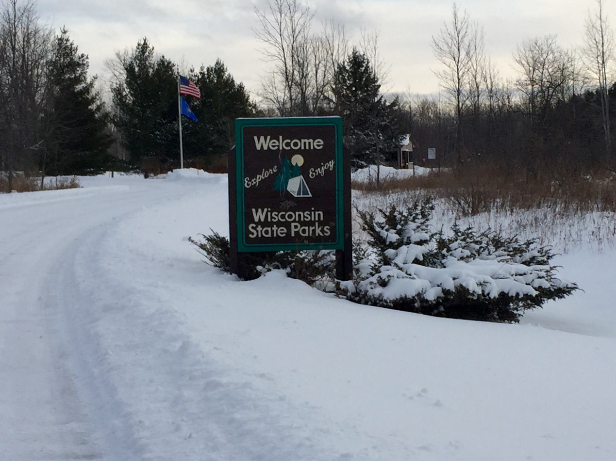 The entrance to Potawatomi State Park in the Door County Town of Nasewaupee is seen, Dec. 15, 2017. (WLUK/Eric Peterson)