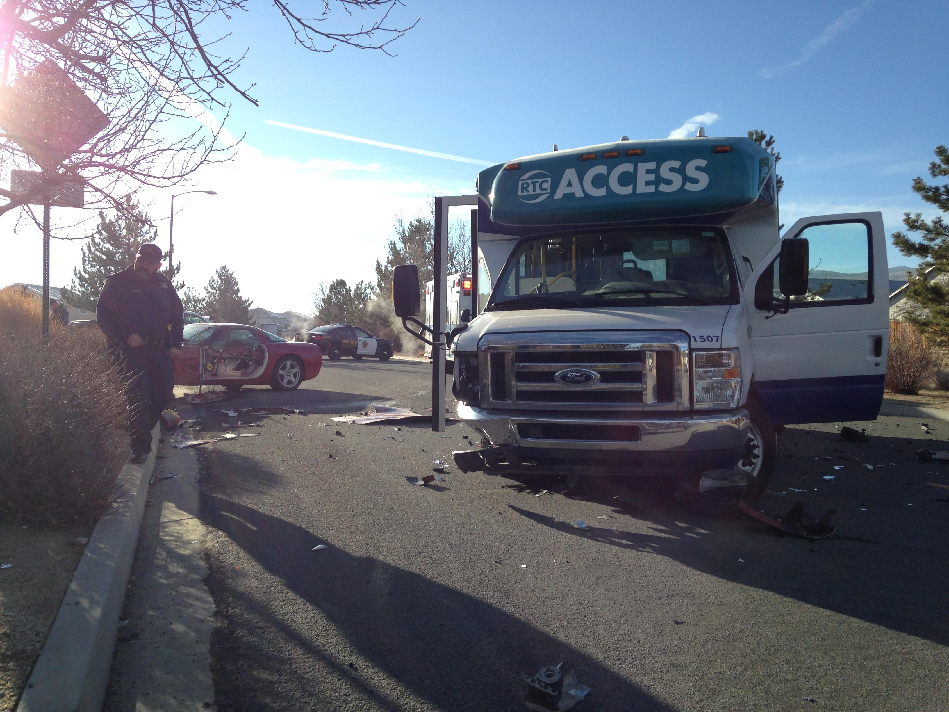 2 transported with minor injuries after car collides with elderly transport bus in Stead