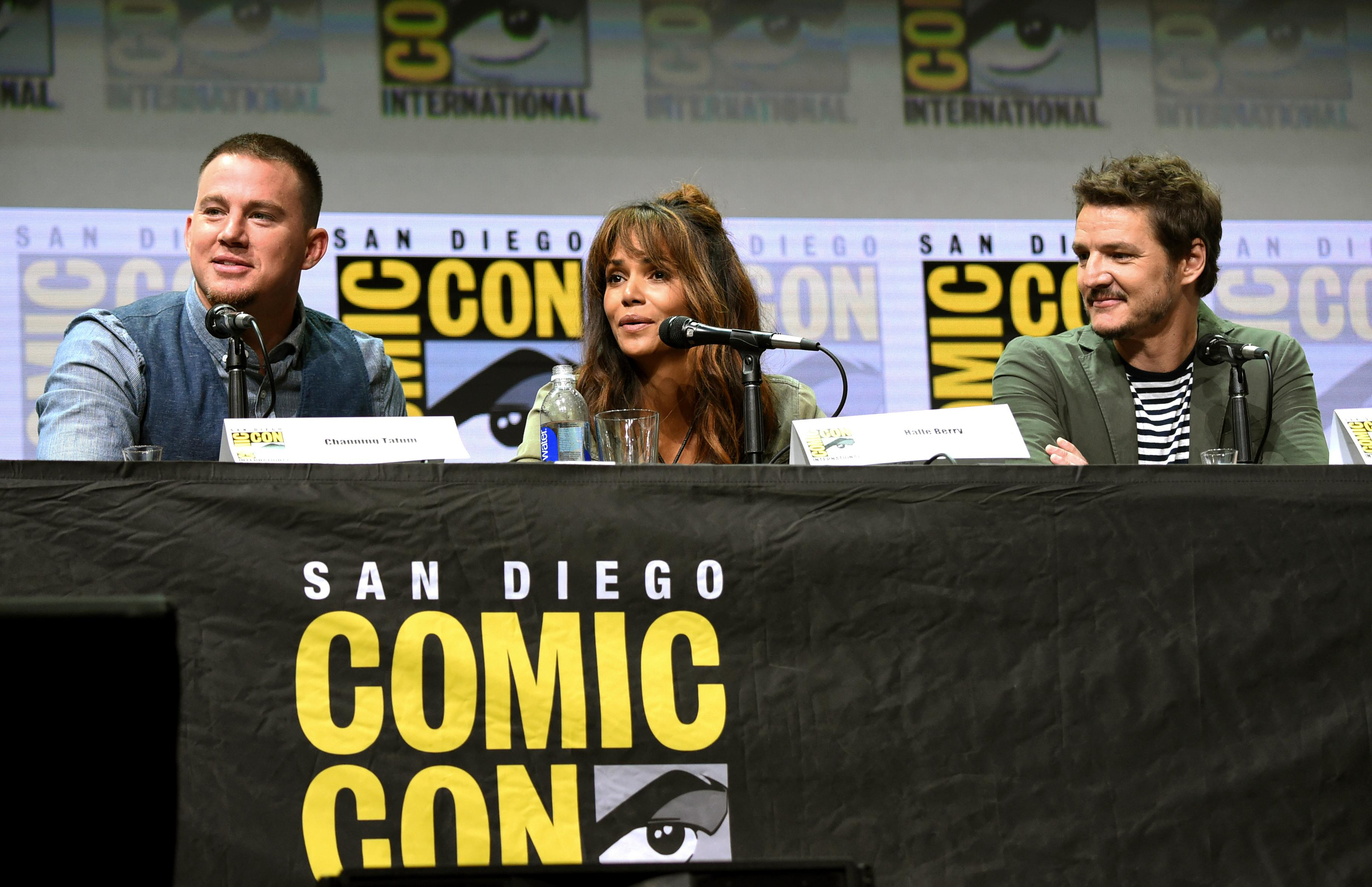 Channing Tatum, from left, Halle Berry, and Pedro Pascal attend the 20th Century Fox panel on day 1 of Comic-Con International on Thursday, July 20, 2017, in San Diego. (Photo by Richard Shotwell/Invision/AP)