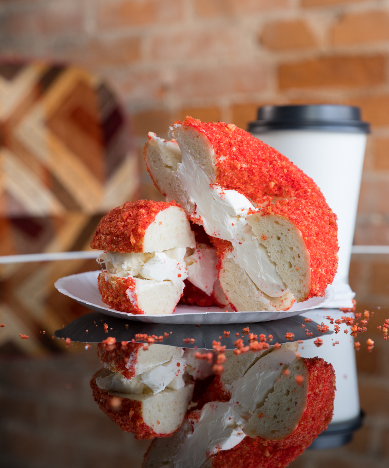 Flamin Hot Cheeto bagel with plain cream cheese / Image: Marlene Rounds // Published: 2.21.19