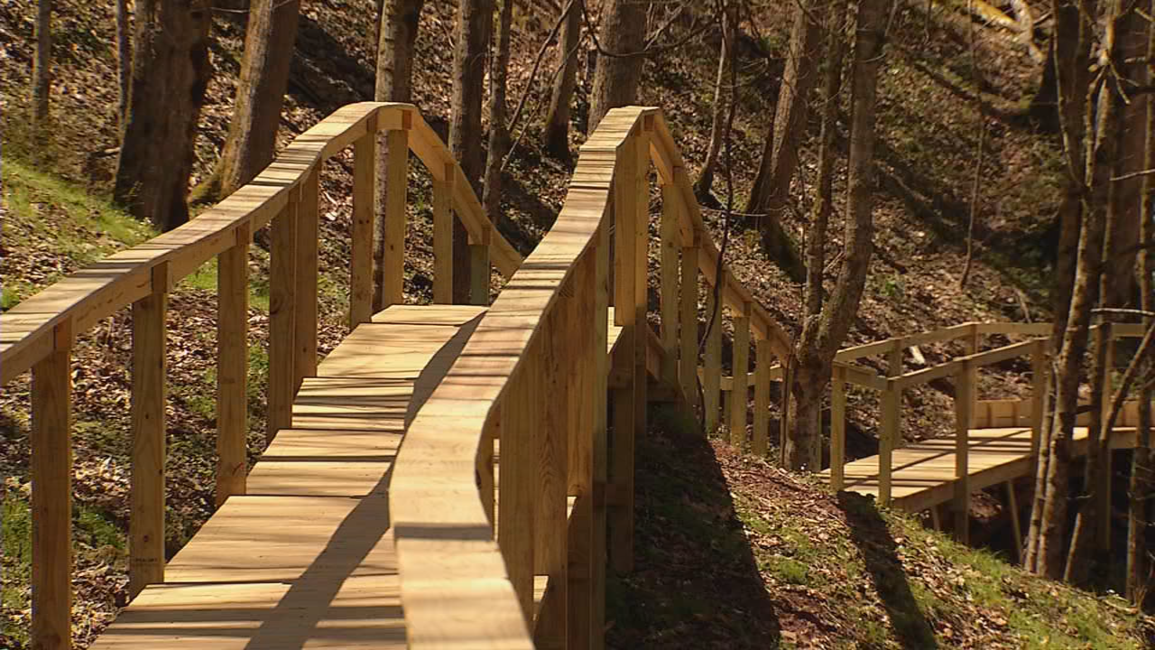 The boardwalk follows the path of the original along a steep mountainside. (WCHS/WVAH)
