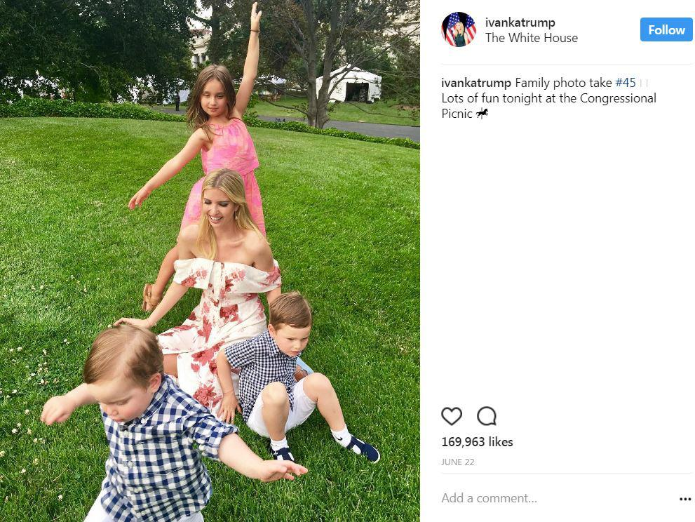 Ivanka enjoyed some quality family time with her three little loves  at the Congressional Picnic in June. (Image: Courtesy IG user @ivankatrump)