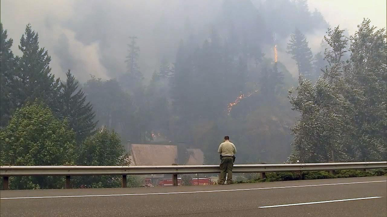 The Eagle Creek Fire burns near the Multnomah Falls Lodge Tuesday, Sept. 5, 2017. Firefighters were able to save it from the flames. (KATU Photo)