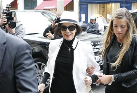 Mary Jo Shannon, grandmother of Kim Kardashian, arrives at Kanye West's Paris apartment, Tuesday, May 20, 2014.