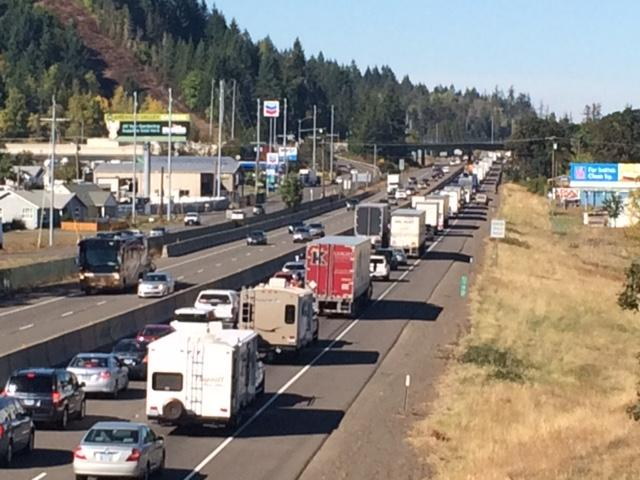A crash slowed traffic on Interstate 5 south of the Highway 126 interchange on Friday afternoon. (SBG)
