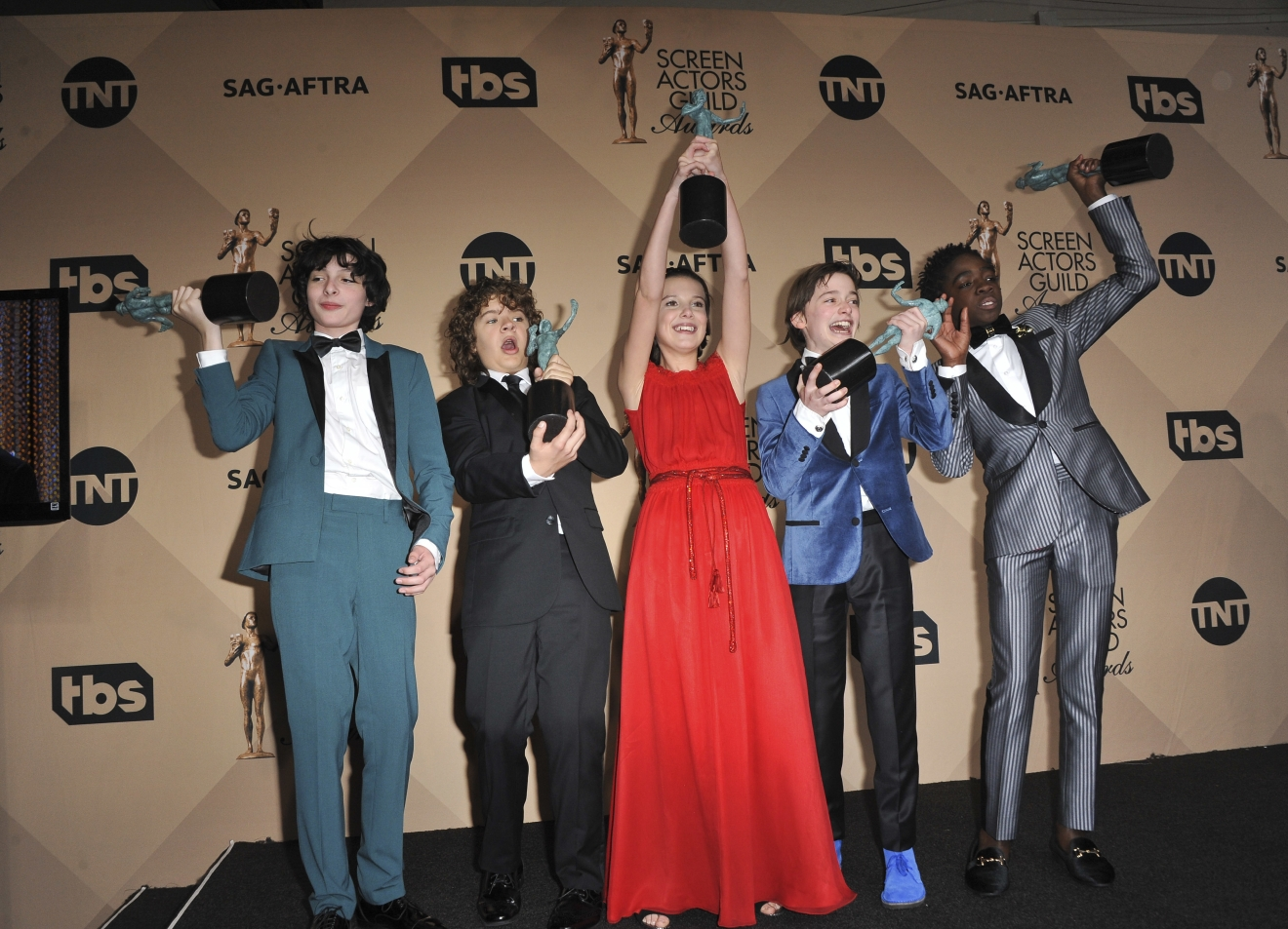 The SAG Awards 2017 Pressroom  Featuring: Caleb McLaughlin, Millie Bobby Brown, Noah Schapp, Gaten Matarazzo, Finn Wolfhard Where: Los Angeles, California, United States When: 30 Jan 2017 Credit: Apega/WENN.com
