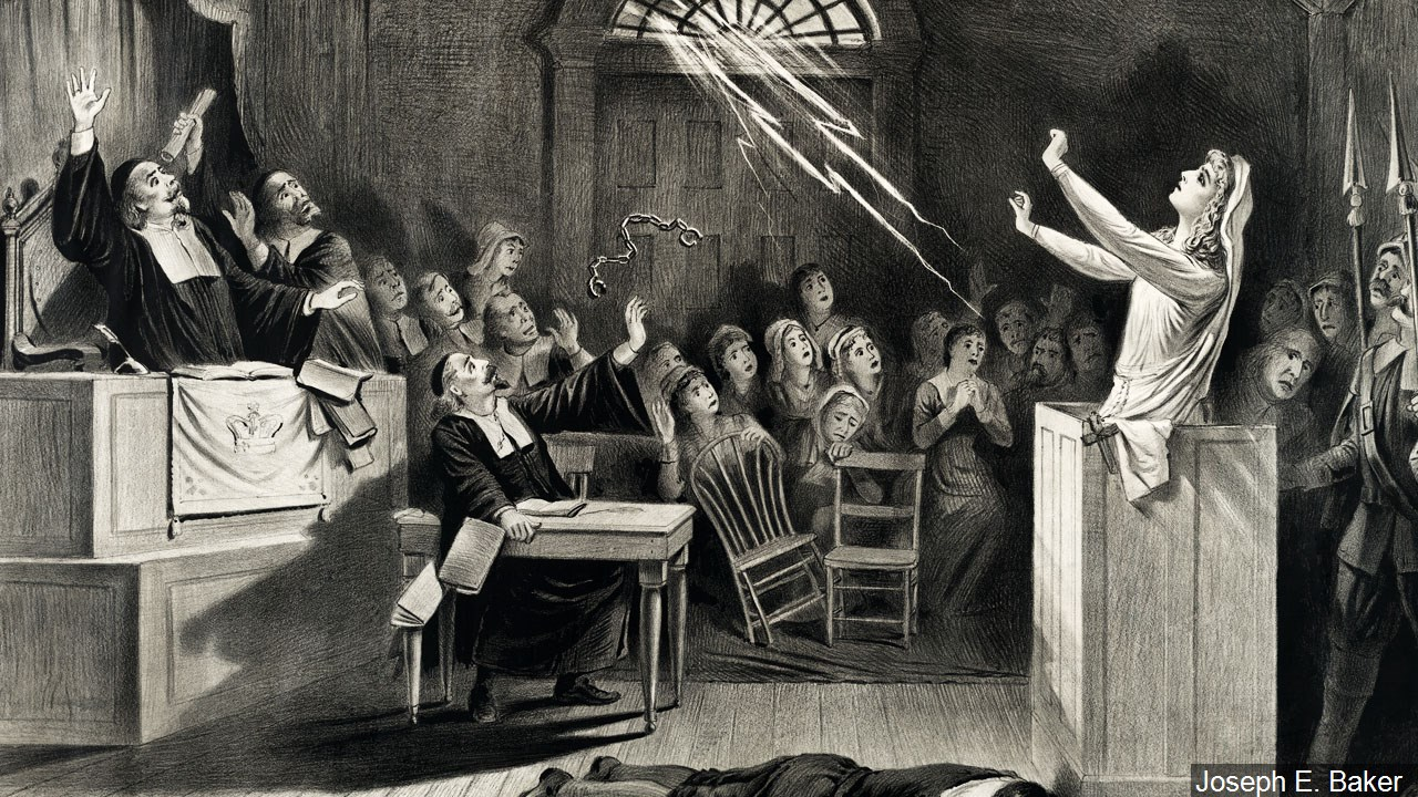 """The witch no. 1"" lithograph by artist Joseph E. Baker. Inspired by the Salem witch trials. Photo date: Feb. 29, 1892. (Joseph E. Baker/MGN)"