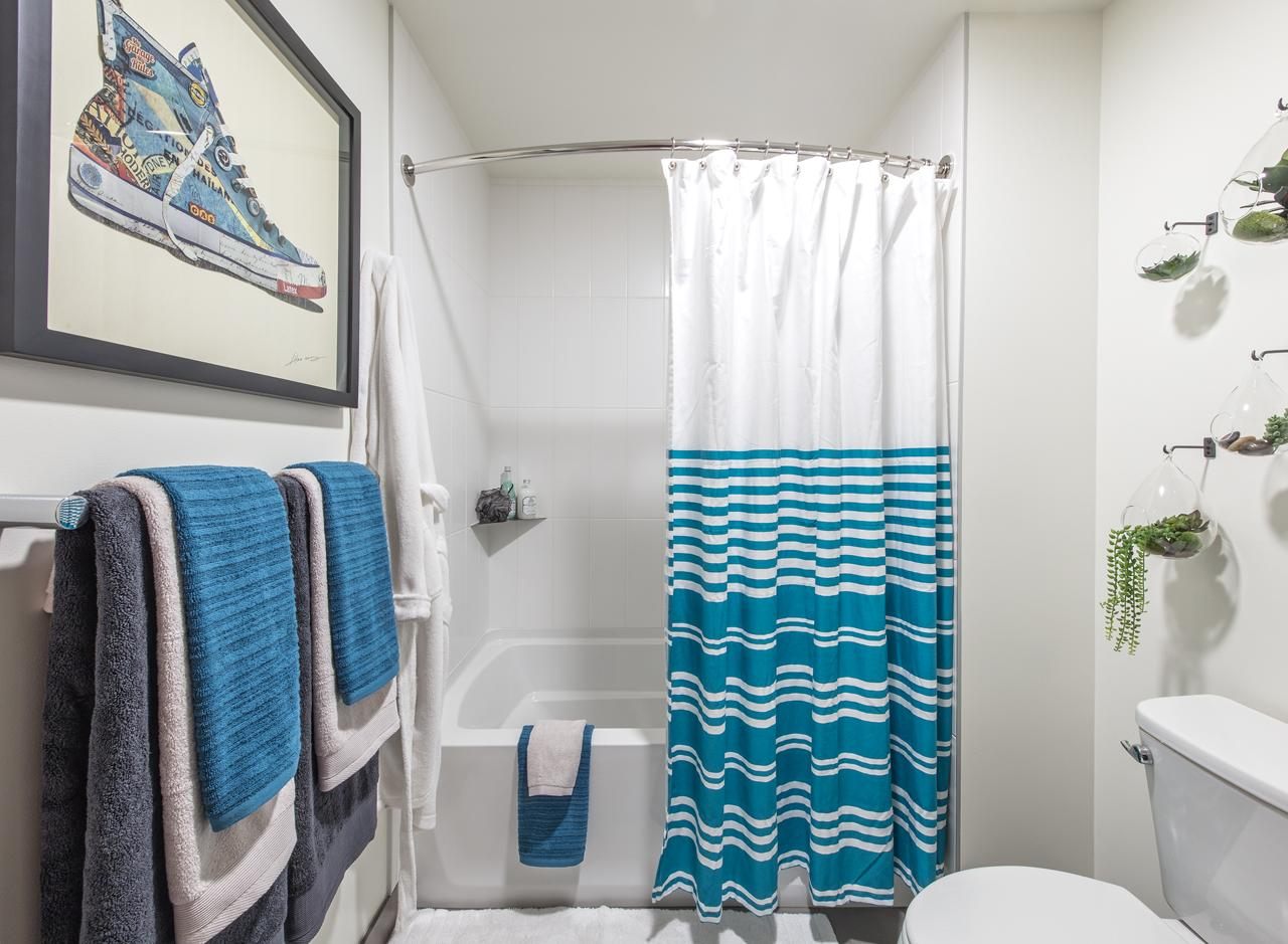 The bathroom in a one bedroom apartment at AMLI Arc<p></p>