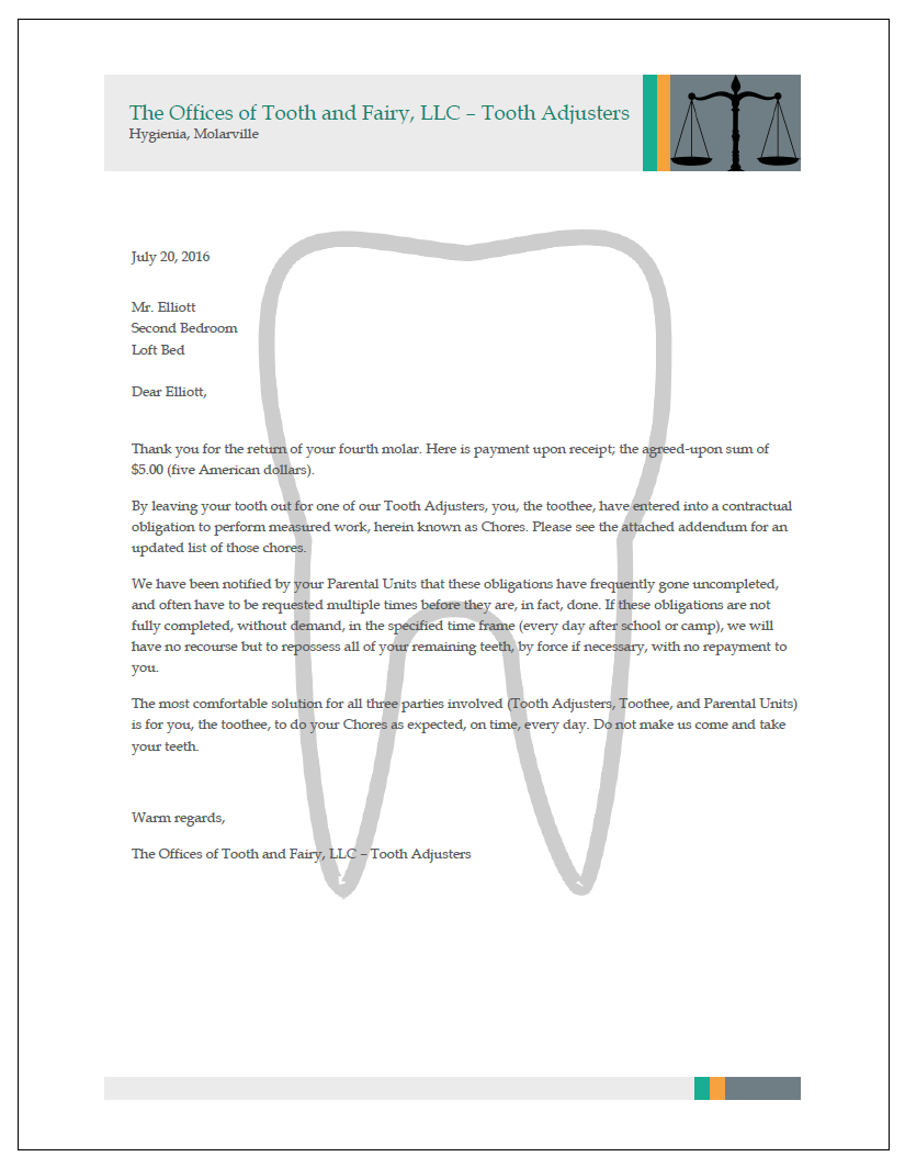 Parents Pen Letter From Tooth Fairy We All Feared As Kids  Wmsn