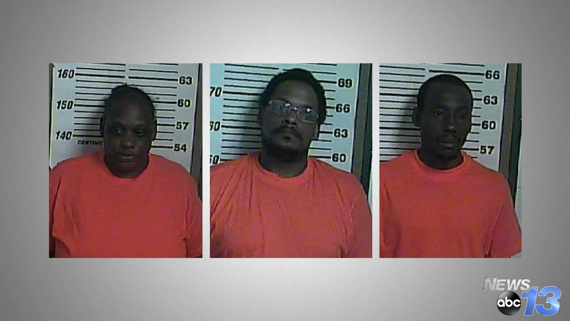 Lakista Williams (left), Eric Larue (center), Willie Green Jr. (right) - Photo credit: Cocke County Jail)