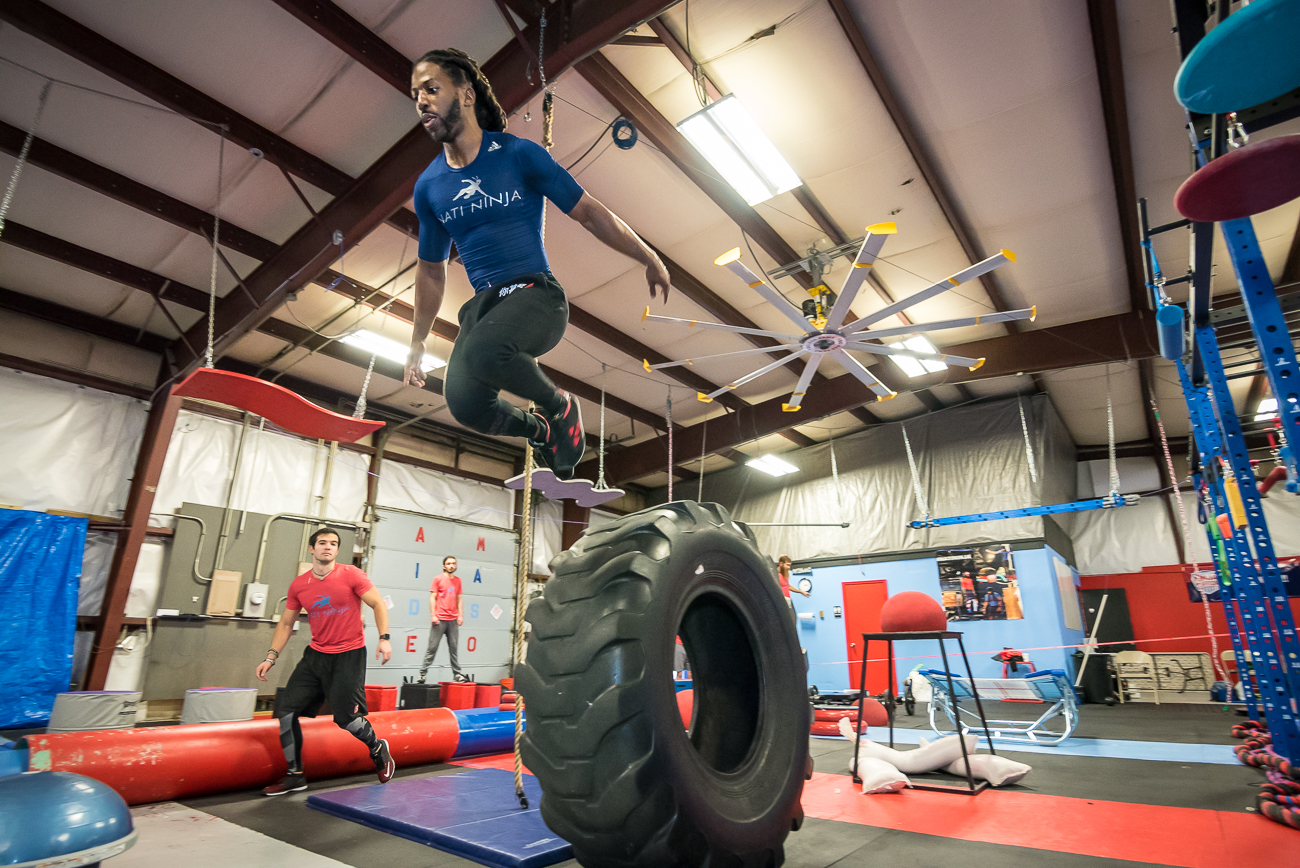 "Pictured: James Wilson, owner of Nati Ninja Gym / Story: ""Train Like A Ninja At This Awesome Blue Ash Obstacle Course Gym / Image: Phil Armstrong, Cincinnati Refined // Published: 2.2.18"