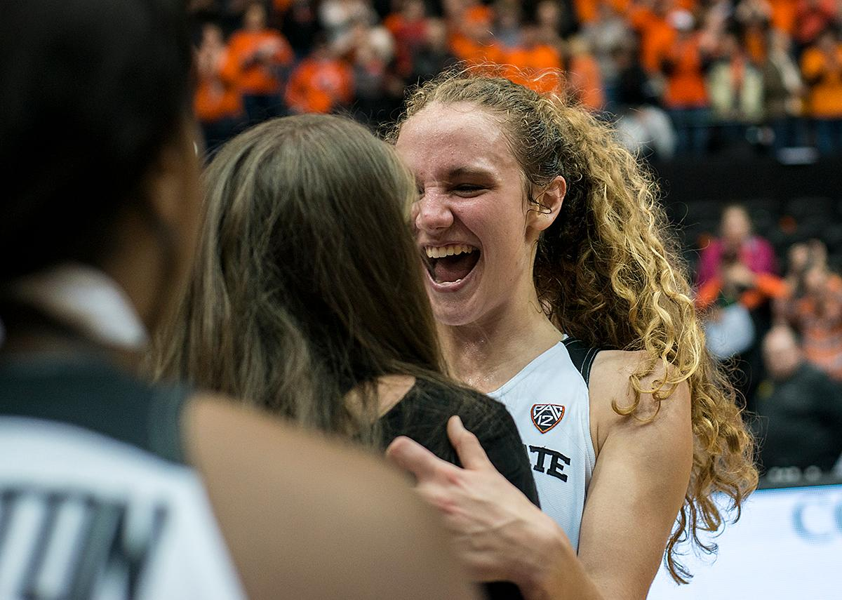 Oregon State Beavers guard Katie McWilliams (#10) grins after the Beavers win.The Oregon Ducks were defeated by the Oregon State Beavers 85-79 on Friday night in Corvallis. Sabrina Ionescu scored 35 points and Ruthy Hebard added 24. The Ducks will face the Beavers this Sunday at 5 p.m. at Matthew Knight Arena. Photo by Abigail Winn, Oregon News Lab