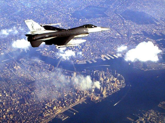 9:13 a.m.:  Two F-15 fighter jets from Otis Air National Guard Base leave military airspace on Cape Cod and head for Manhattan. Minutes later, the Federal Aviation Administration bans takeoffs nationwide for flights heading to the New York area.