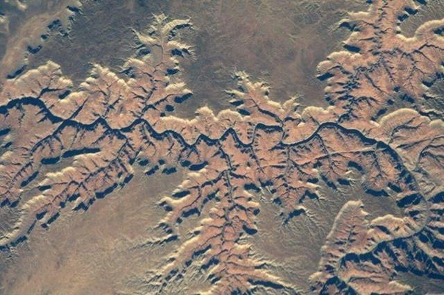Check out the Grand Canyon. I've been to the bottom & now seen it from 260 miles up. Shadows can cause visual effects (Photo & Caption: Mike Hopkins, NASA)